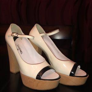 Chanel White Platform Heels